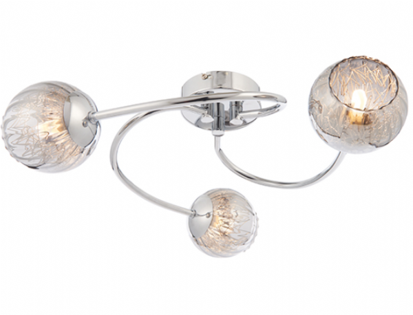 Aerith Smoked Glass 3 Light Semi Flush 28w